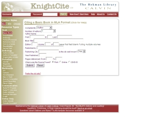 knight cite mla format Knightcite is an online citation generator service provided by the hekman library of calvin college this service simplifies the often tedious task of compiling an  wwwcalvinedu student resources - writing center - library research guides at st.